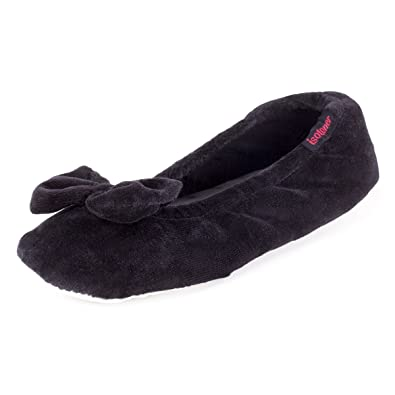 b45047e11a5 isotoner Velour Big Bow Ballerina Slippers Black Small (UK 3-4)