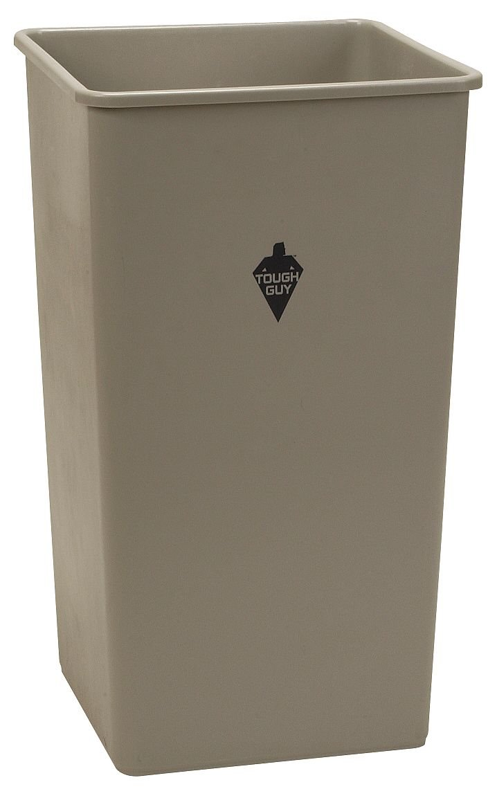 Tough Guy 4PGR9 19 gal. Square Beige Trash Can, Beige
