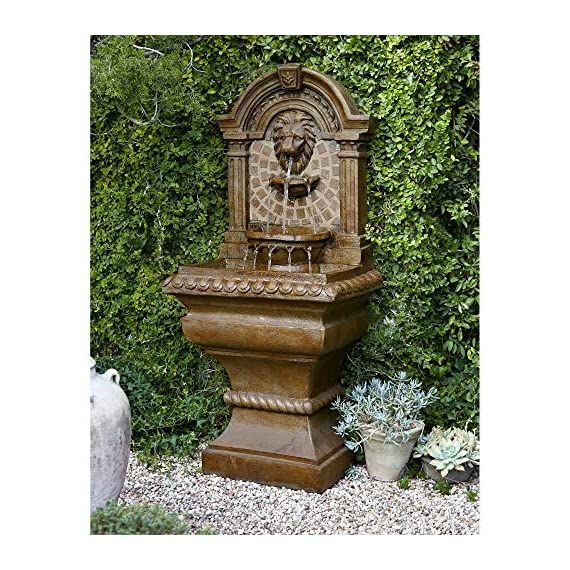 """Royal Lions Head Mediterranean Outdoor Wall Water Fountain with Light LED 51"""" High 3 Tiered for Yard Garden Patio Deck Home - John Timberland - 51"""" high x 23 1/2"""" wide x 15 1/2"""" deep. Bottom of base is 16"""" wide x 13"""" deep. Weighs 48 lbs. Lions head garden fountain. Designed to be set against a house or garden wall. By John Timberland. Light in the middle water basin lights the fountain at night. - patio, outdoor-decor, fountains - 61JIrI2FmQL. SS570  -"""