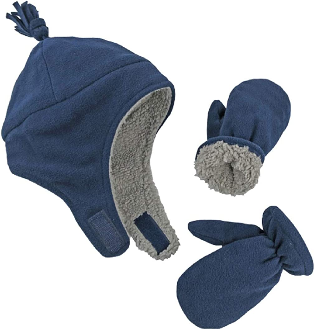 Navy 4, 2-3 Years NIce Caps Little Boys and Baby Sherpa Lined Warm Fleece Pilot Hat Mitten Set