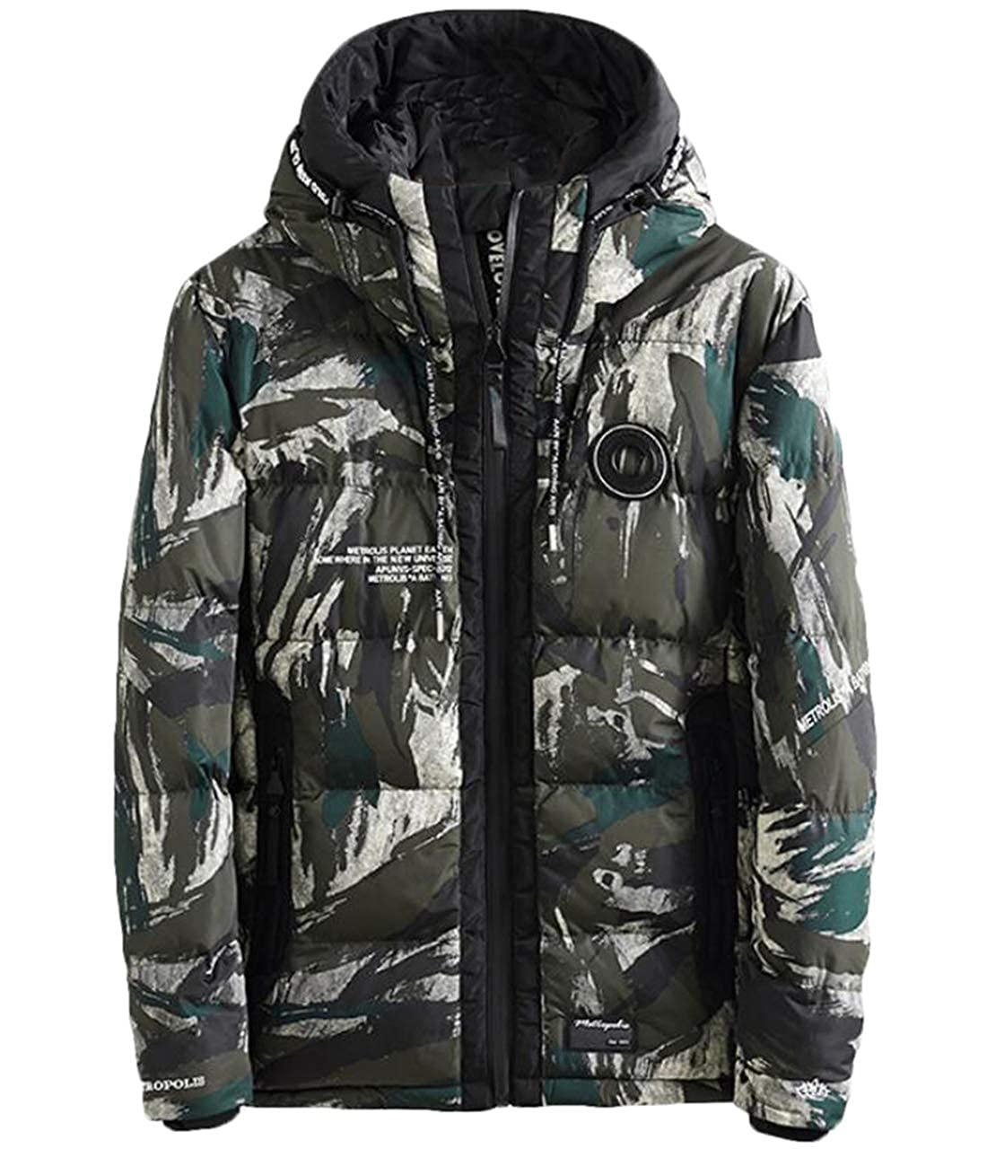YYear Mens Thicken Winter Hooded Letters Print Padded Quilted Casual Camo Print Down Puffer Jacket