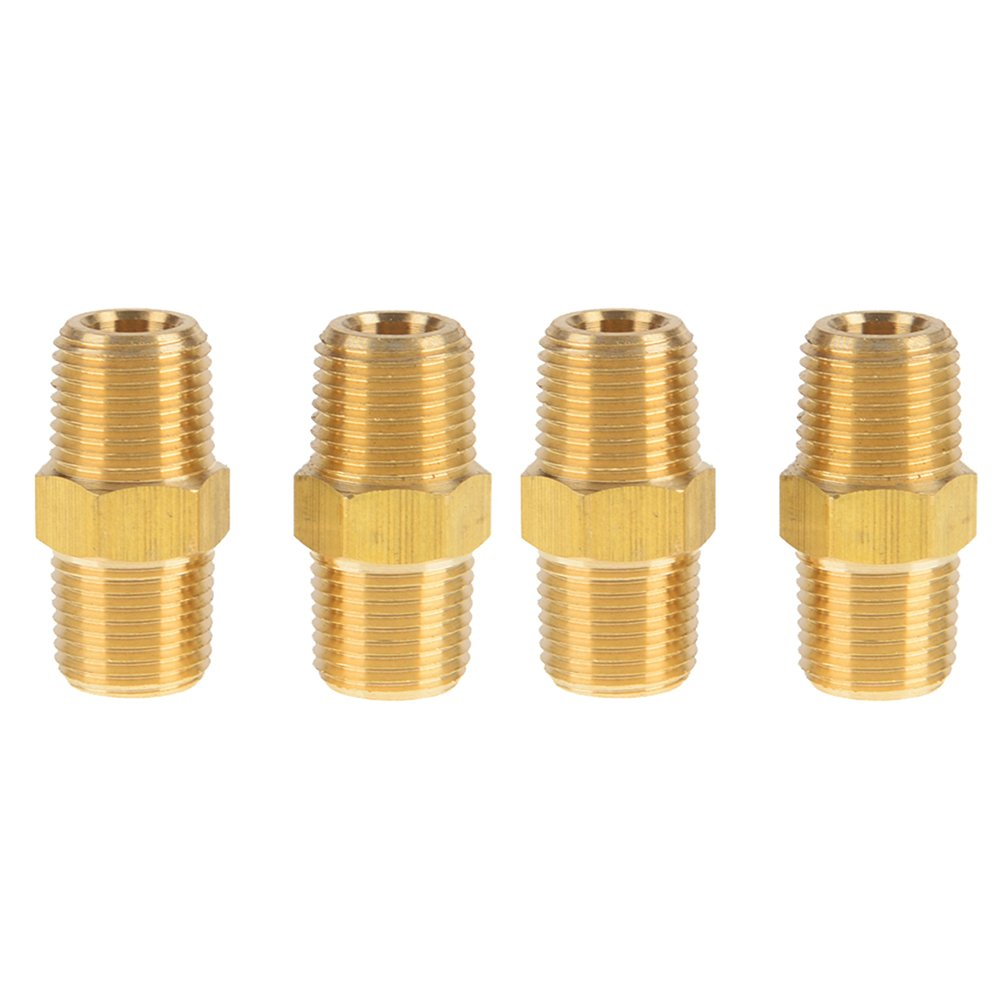 Boeray 4pcs 1 4x1 4 Brass Pipe Hose Fitting with NPT Male Thread Straight Hex Nipple Fast Coupler