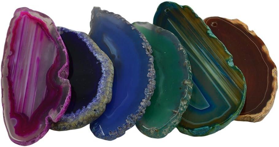 6 Pieces Multicolor Irregular Agate Quartz Slice Pendants Charms DIY Jewelry Findings