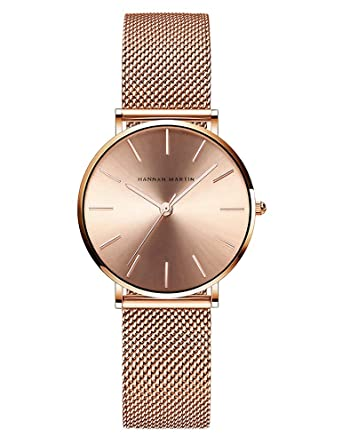 d50bc5fe Women's Analog Quartz Rose Gold Watch with Stainless Steel Mesh Strap  Ladies Watch Simple and Elegant