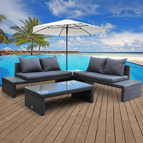 Modern Sectional Daybed (Cloud Mountain 4 Piece Patio Rattan Furniture Set Garden Sectional Loveseat Daybed Cushioned Conversation Furniture Set Glass Top Table, Steel Blue)
