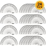 Zealor 24 Pack Plastic Protractors Clear Math Protractor 180 Degrees (4 Inch)