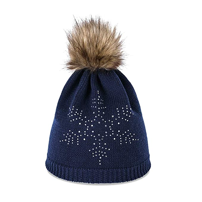Amazon.com  Women Twinkle Pom Pom Beanie Cable Knit Hat Winter Ski ... 1f1081a69c6