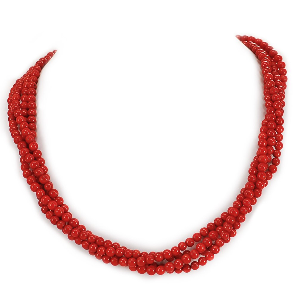 003 Ny6Design 4 Strands Red Coral Round Beads Long Necklace w silver Tone Toggle18'' N13010108c