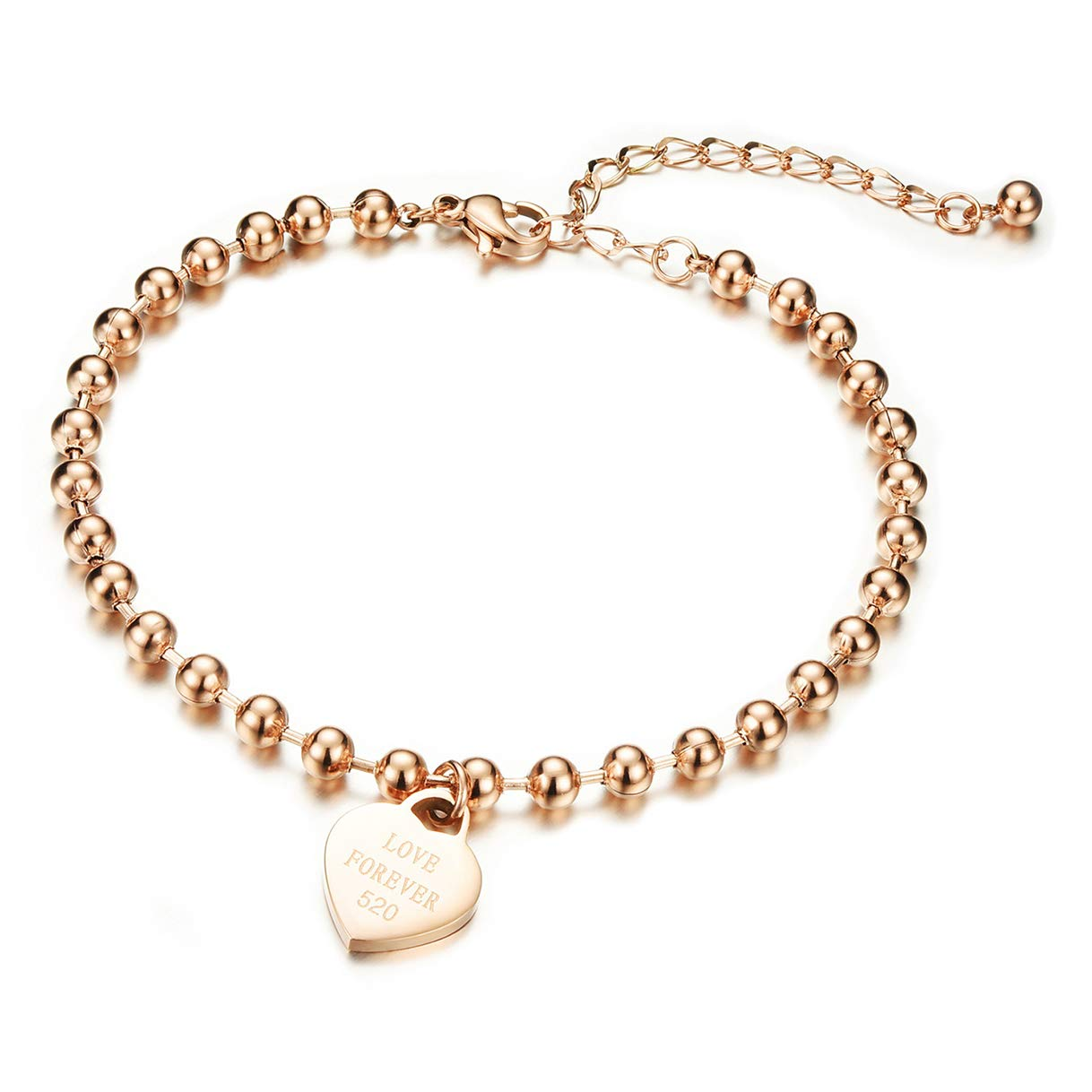 CHARMFAME Rose Gold Plated Stainless Steel Heart Anklet Love Forever Beaded Ankle Bracelet Fashion Foot Jewelry for Women /& Girls