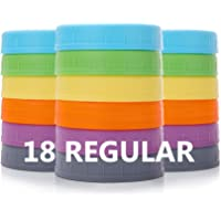 Aozita [18 Pack] Plastic REGULAR Mouth Mason Jar Lids for Ball, Kerr and More with Silicone Rings - Food Grade Colored…