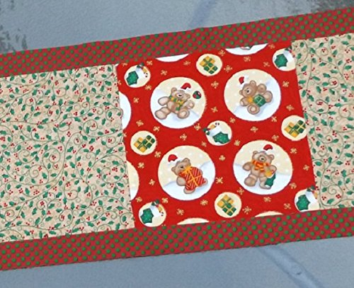 Patchwork Holiday Table Runner With Teddy Bears and Holly Christmas Fabrics
