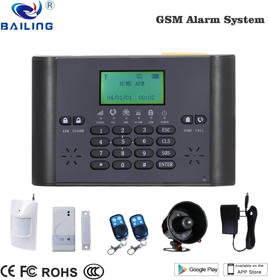 BAILING GSM Alarm System LCD display & keypad Home Alarm System with Motion Detector Door sensor remote controller