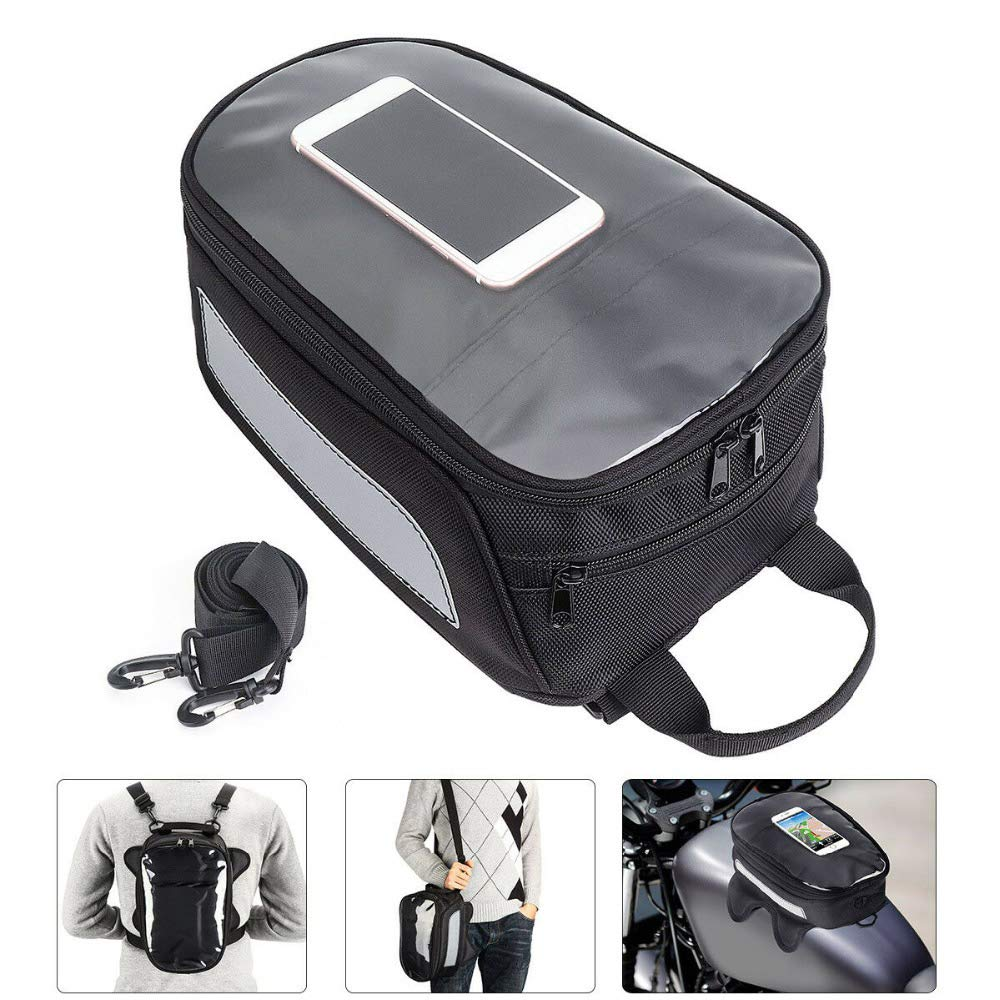 Motorcycle Tank Bag Oxford Magnetic Saddle Bag with Large Screen Mobile Phone Navigation Handbag Backpack by Vechkom