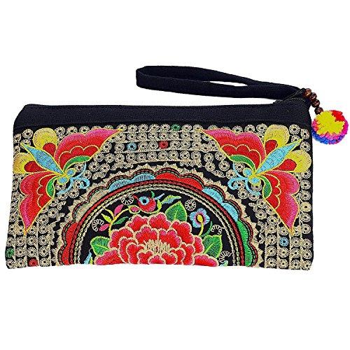 Sabai Jai - Smartphone Wristlet Bag - Handmade Embroidered Boho Clutch Wallets ()