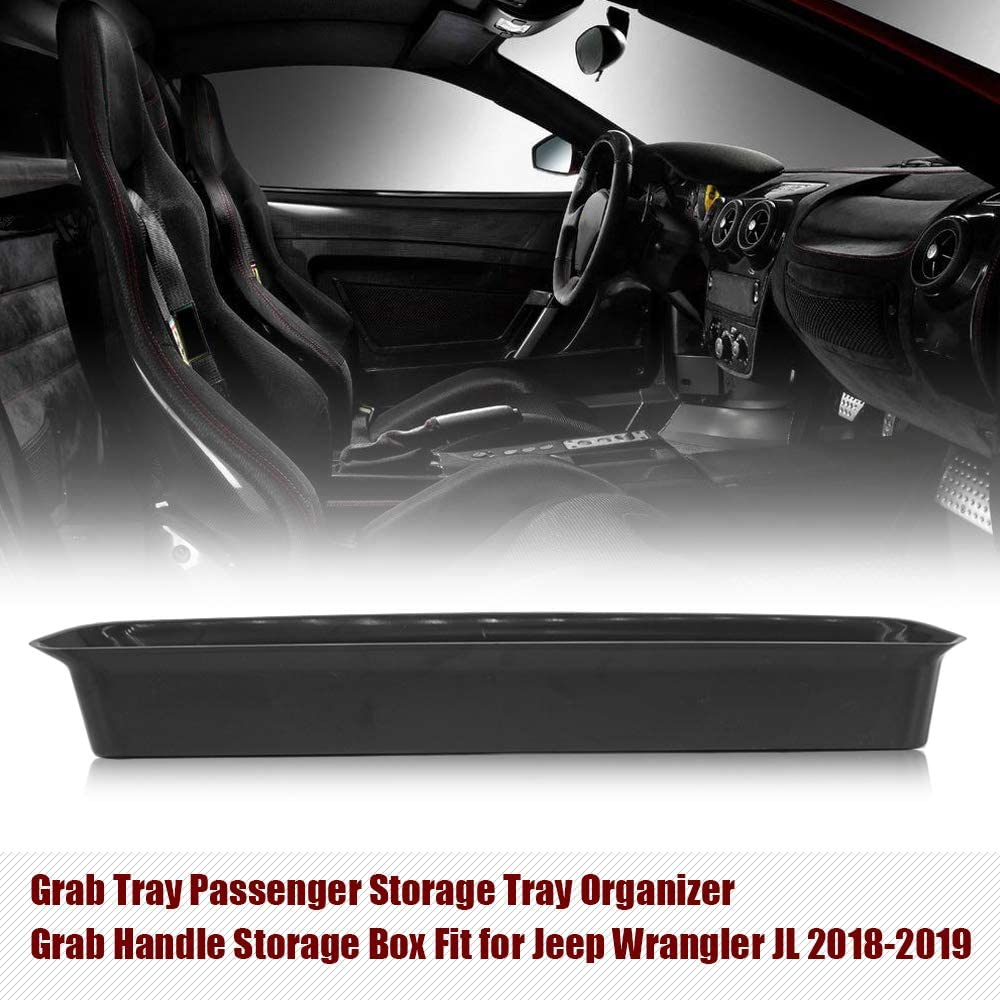 Passenger Grab Tray KKmoon Interior Accessories Storage Tray Organizer Grab Handle Storage Box Fit for Jeep Wrangler JL 2018-2019