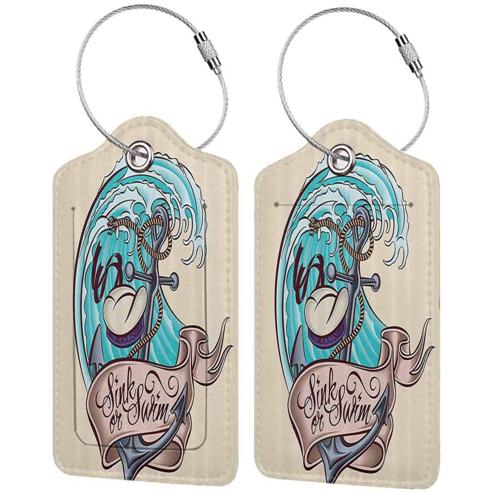 Durable luggage tag Anchor Decor Collection Anchor Classic Cartoon Characters Sailor Hat Marine Life Dangerous Wavy Sea Travel Image Unisex Aqua Beige W2.7 x L4.6