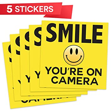 SMILE YOU/'RE ON CAMERA Yellow Business Security Sign CCTV Video Surveillance 2