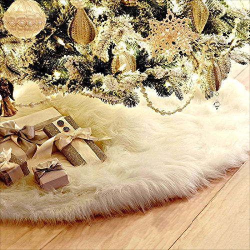 Slocyclub Plush Snowy White Christmas Tree Skirt Small Large 2 Size(30.42 IN And 35.1 IN Diameter) Xmas Decoration Christmas Tinsel Garland Wholesale
