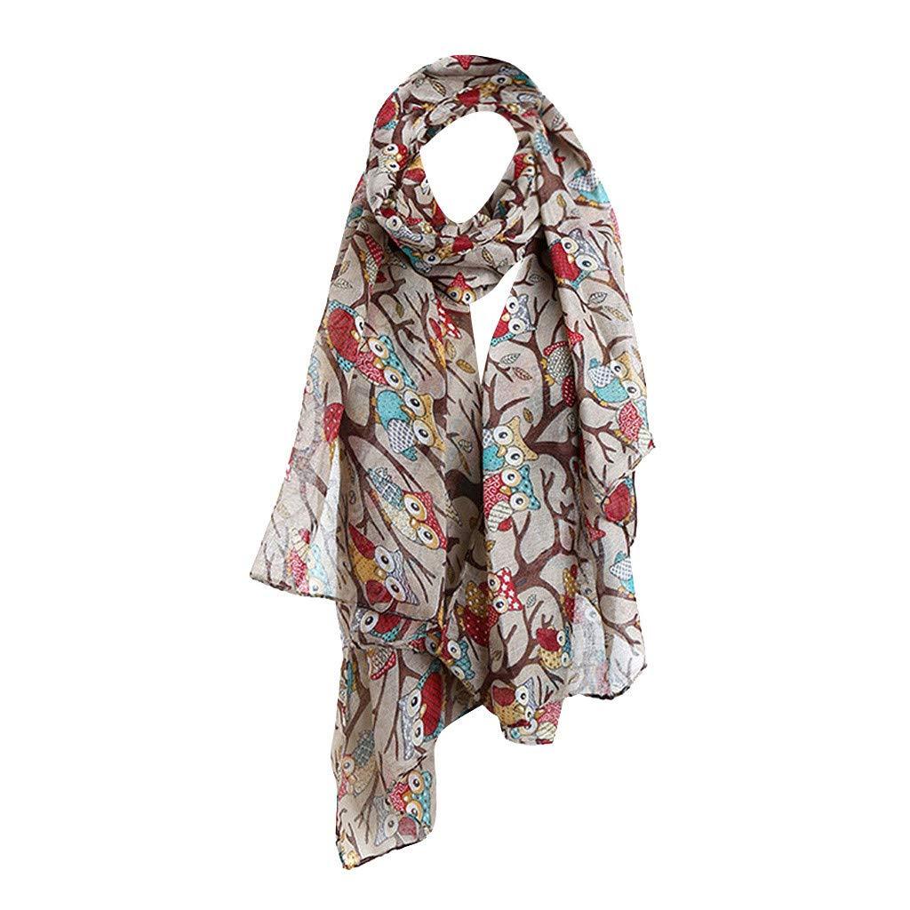 Clearance Kumike Fashion Womens Maple Leaf Print Pattern Lace Long Scarf Warm Wrap Shawl