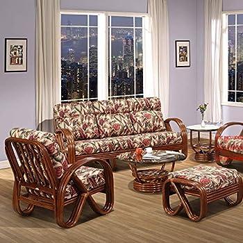 Amazon.com: Malibu juego de 2 sillas de mimbre Natural con ...