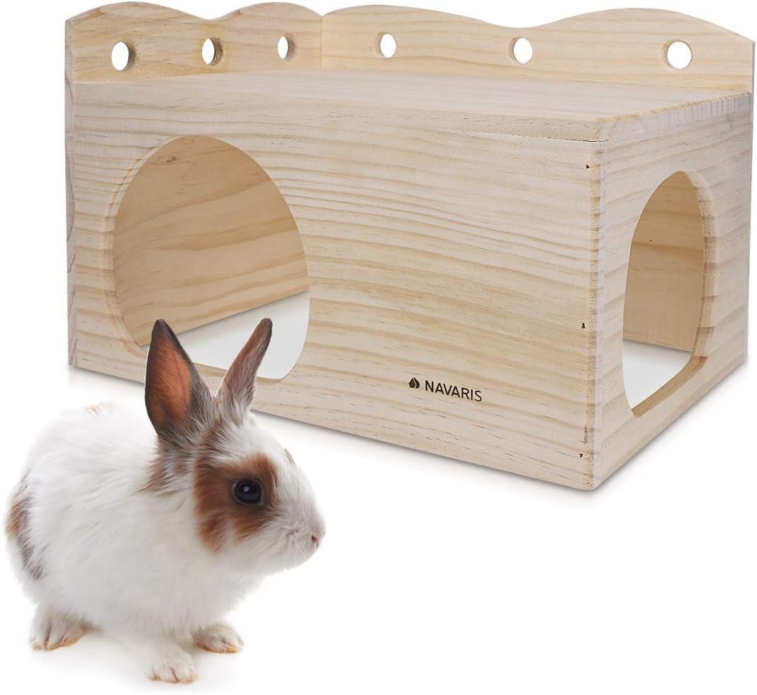 Navaris Casa para Conejos de Madera - Escondite para Conejillos de Indias hámster y Conejos Enanos - Casita para Mascotas de Madera para Interior
