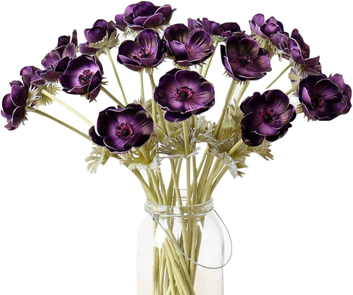 LebriTamFa 5Pcs Artifical Real Touch PU Anemone Flower Bouquet Room Home Decor (Purple)