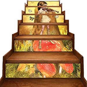 Vintage Stair Stickers Decals Cute Elf Making Music Playing Mush Foggy Mystic Woodland Red Ivory Home Decorations Removable Self Adhesive Decor, W39.3 x H7 inch