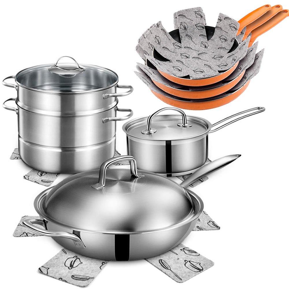 Compra Xutong - Protectores para sartenes y ollas, 12 unidades, acolchados, de fieltro, para separar y proteger las superficies de tus utensilios de cocina ...