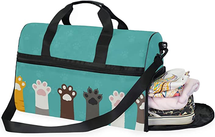 Cat Paw Print Travel Weekend Overnight Gym Bag