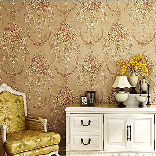 QIHANG American Pastoral Style Embossed Flower Environmental Friendly Non-Woven Living Room Bedroom Wallpaper Roll 0.53m(1.73') x 10m(32.8') = 5.3 (57square Feet) (Light Brown)