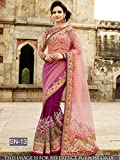 Sunshine Fashion Purple Color Naylon Net,Naylon Mono Net Fabric Multy & Hand Work Saree ( New Arrival Latest Best Choice and Design Beautiful Sarees and Salwar suits and Dress Material Collection For Women and Girl Party wear Festival wear Special Function Events Wear In Low Price With Todays Special Offer with Fancy Pattern Designer Blouse and Bollywood Collection 2017 Good Looking Clothes )