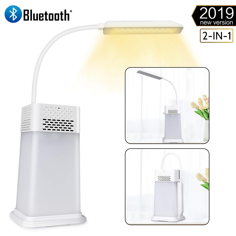 Portatili Ricaricabili Luce Notturna per Casa Bianco Toccare Sensore Led Lampade da tavolo e abat-jour Bluetooth Lampada Altoparlante per Lettura Lampada Bluetooth da Tavolo Lavoro