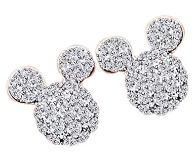 3b3c2f2e8 Amazon.com: Mothers Day Jewelry Gifts Round Cut White Cubic Zirconia Mouse  Stud Earrings In 14k Rose Gold Over Sterling Silver: Jewelry