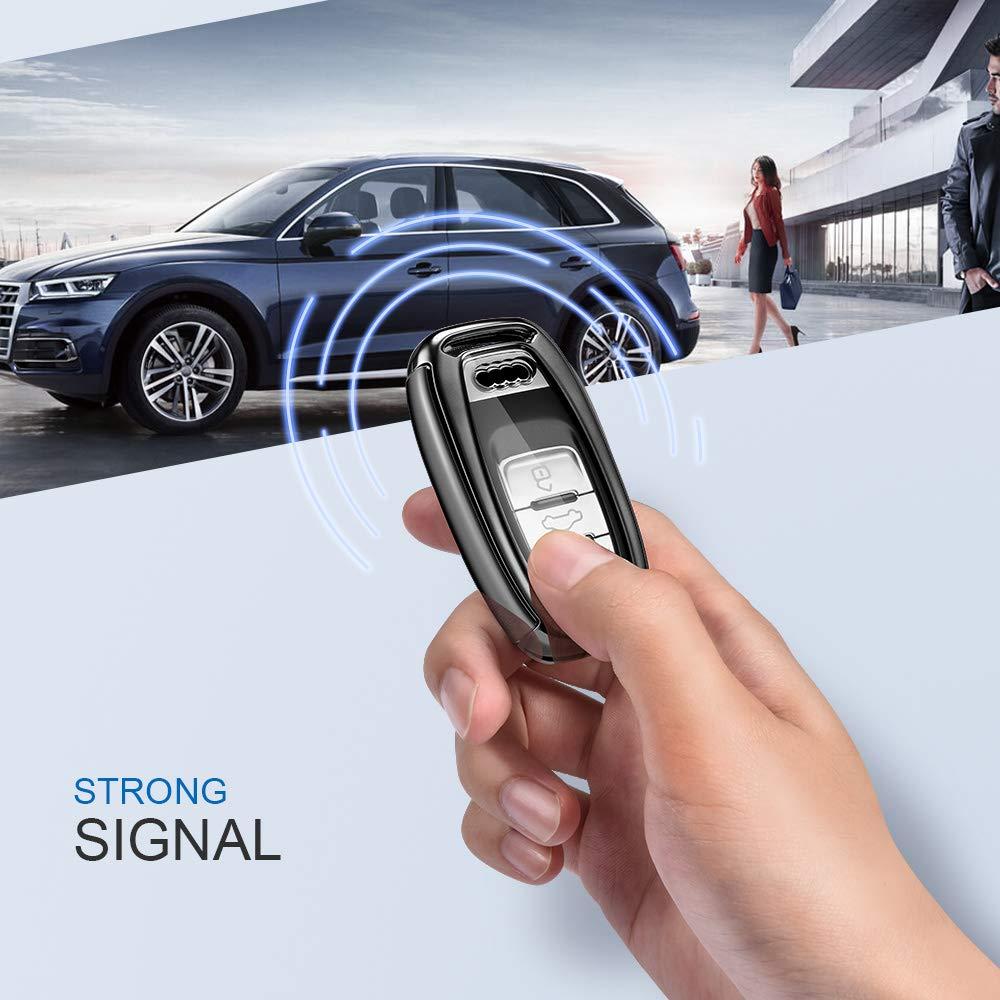 Coque pour cl/é pour Audi A4 A5 A6 A7 Q5 Q7 Q8 RS SQ Assise bo/îtier de cl/é /à 3 Touches Audi-Bleu Oatsbasf Housse de cl/é de Voiture Audi