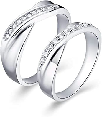 Bishilin 18K Gold Plated Wedding Rings Set For Him And Her With Cubic Zirconia Inlaid 2Pcs Set Women Size 9 /& Men Size 10