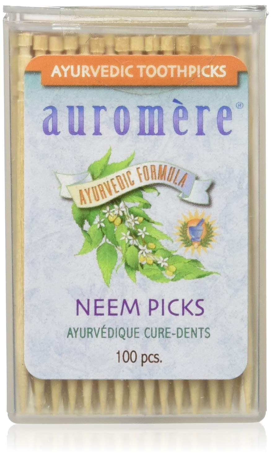 Ayurvedic Neem Toothpicks by Auromere - All Natural, with Neem and Vegan - 100ct (12 Pack)