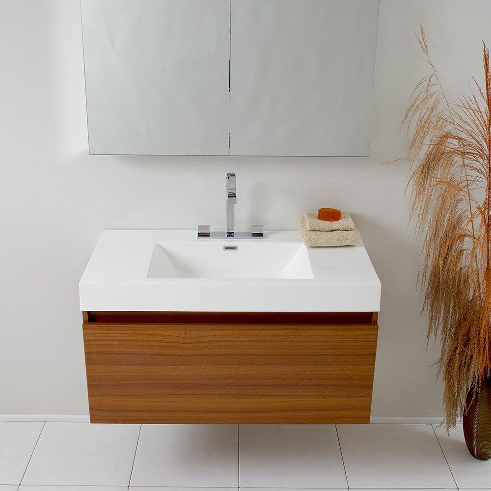 fresca bath fvntk mezzo vanity with medicine cabinet teak  - fresca bath fvntk mezzo vanity with medicine cabinet teak  frescamezzo teak modern bathroom  amazoncom