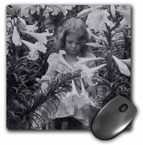6760 Rubber (3dRose Scenes from the Past Vintage Stereoview - Among the Lillies Black and White - MousePad (mp_6760_1))