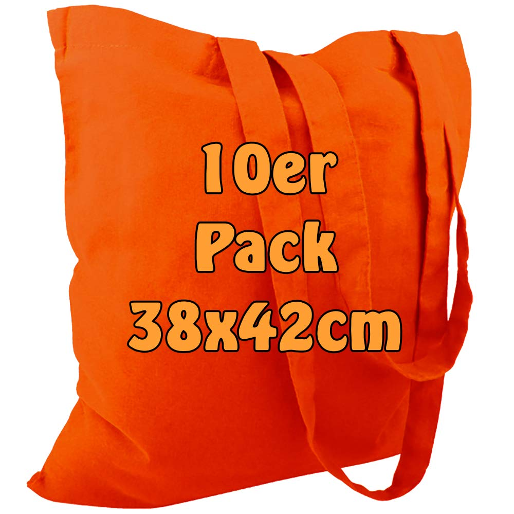 Funda de algod/ón yute Bolsa unbedruckt con dos asas largas naranja 38/x 42/cm 10/unidades