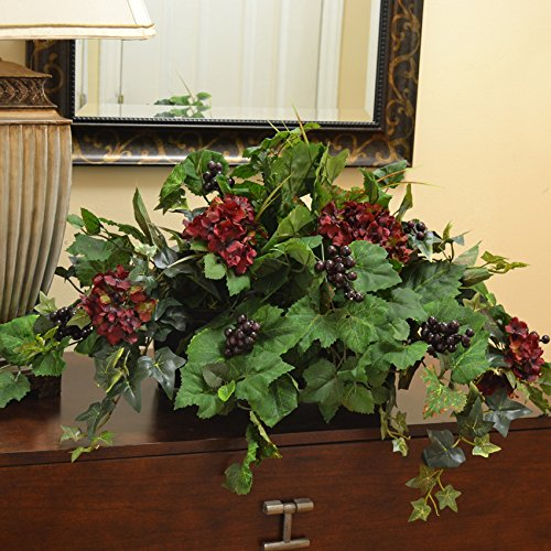 Silk Ledge Plant with Hydrangea, Berries & Ivy