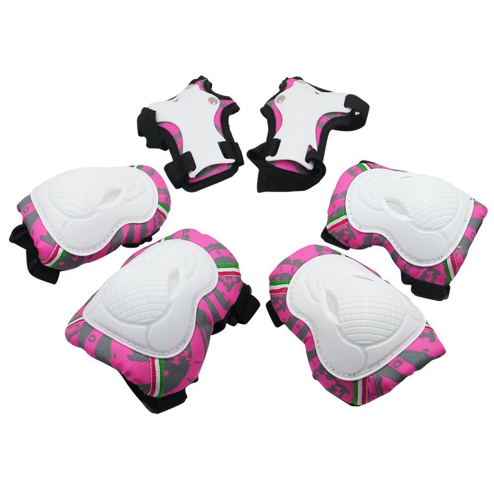 Kuyou Kids Protective Gear,6 pcs Knee Elbow Pads and Wrist Child's Pad Set for Inline Roller Skating Biking Sports Safe Guard