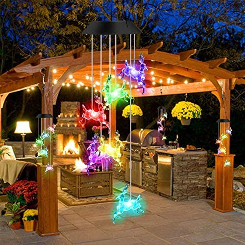 Outdoor Garden Decoration Hanging Lamp for Terrace//Garden Party//Tree,Christmas Decoration Gift Light Control Waterproof Color Changing Garden Lamp EWOPG LED Butterfly Solar Wind Chime Light