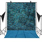MEETS Backdrop 5X7ft Blue Brick Wall and Wood Floor Simple Style Background For Photo Video YouTube Studio Photography MT012