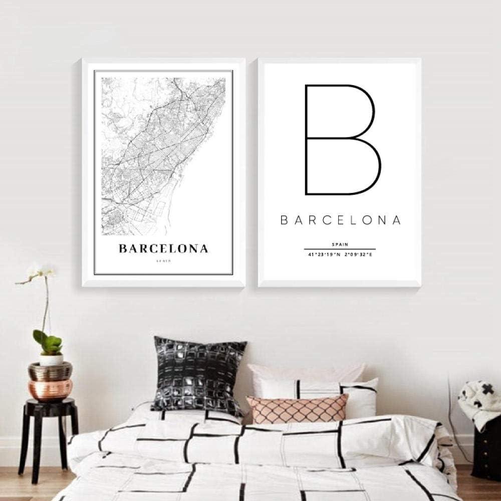 Mapa de Barcelona Imprimir España España Ciudad Calle Mapa de Carreteras Póster Pintura de Lienzo Moderna Imagen en Blanco y Negro Decoración de Arte de Pared de Oficina -50x70cmx2 Piezas (sin Marco):
