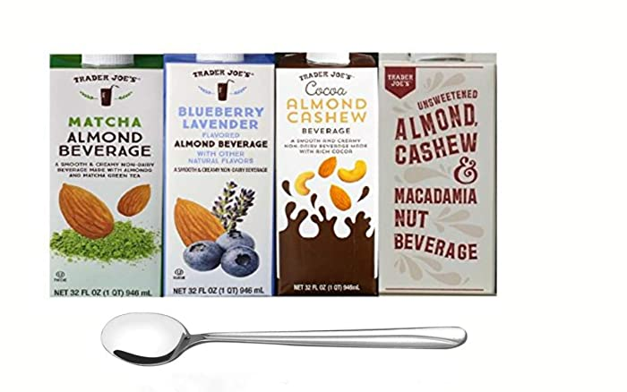Trader Joe's Almond Milk Beverage Four Pack: Matcha Almond Beverage, Blueberry Lavender Flavored Almond Beverage, Cocoa Almond Cashew Beverage, Unsweetened Almond Cashew and Macadamia Nut Beverage with Wave Design Long Stirring Spoon