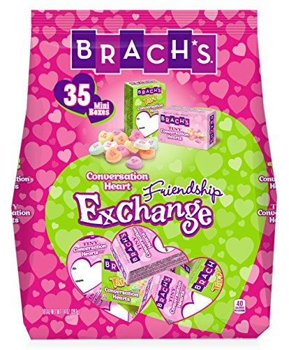 Brach's Tiny & Tart Conversation Hearts Valentine's Day Candy, 35 Count Gift Exchange Boxes