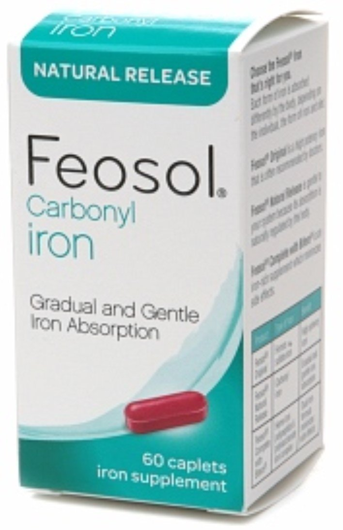 Feosol Carbonyl Iron Supplement Caplets Natural Release 60 Caplets (Pack of 8)