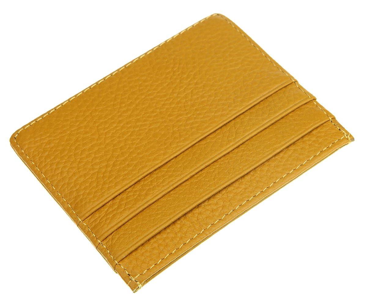 DEEZOMO RFID Blocking Genuine Leather Slim Front Pocket Card Holder with ID Window