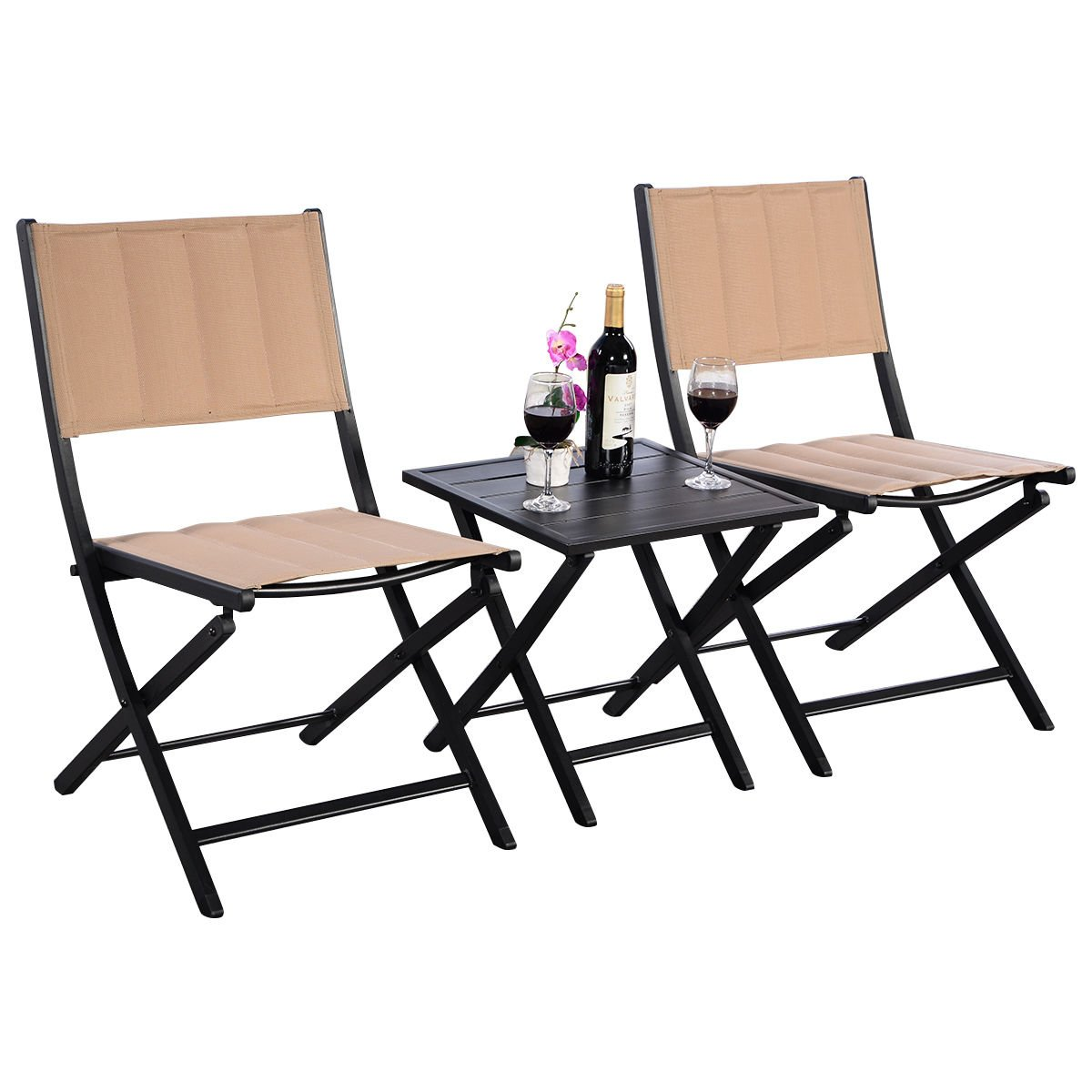 3PCS. Folding Square Table & Chairs Set Bistro Style Garden Furniture Indoor Outdoor Patio For Leisure