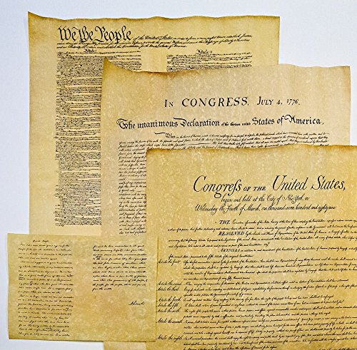 4 Documents of Freedom - Authentic Reproductions on Antiqued Parchment: US Constitution, Declaration of Independence, Gettysburg Address and Bill of Rights